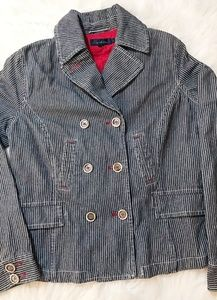 Boden Sz 14 Denim Striped Jacket Red Accents
